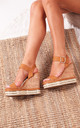 April Tan Nappa Cork Wedges With Gold & Rope Trim by Linzi