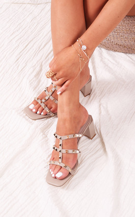 Royalty Taupe Square Toe Mules With Studded Gladiator Front Strap by Linzi