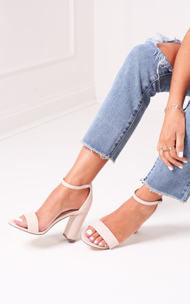 Selena Nude Barely There Block Heels by Linzi