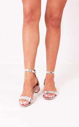 Monique Silver Barely There Block Heeled Sandal by Linzi