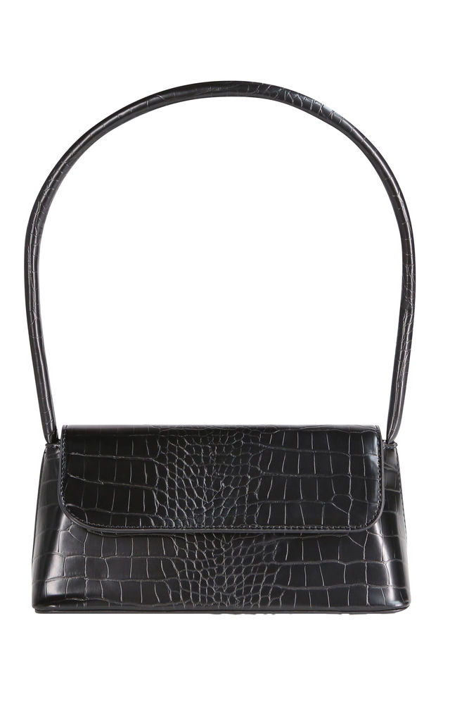 Lady Shoulder Bag in Black croc by My Accessories London
