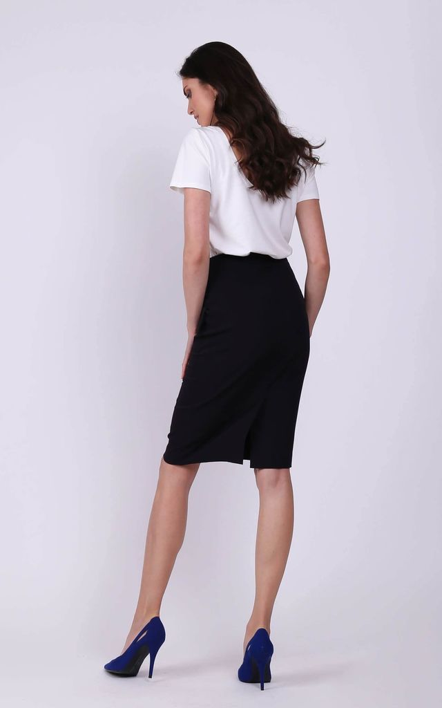 Knee Length Skirt with Pockets in Black by Bergamo