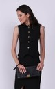 Black Elegant Sleeveless Top Fastened with Buttons by Bergamo