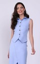 Blue Elegant Sleeveless Top Fastened with Buttons by Bergamo
