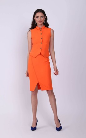 Orange Elegant Sleeveless Top Fastened with Buttons by Bergamo