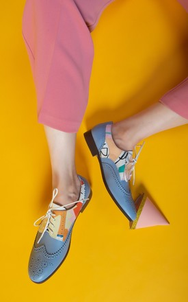 Leather Brogues in Blue & Multicolour by Yull Shoes