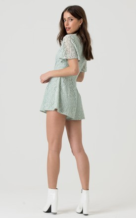 V Neck Lace Playsuit in Mint by LIENA