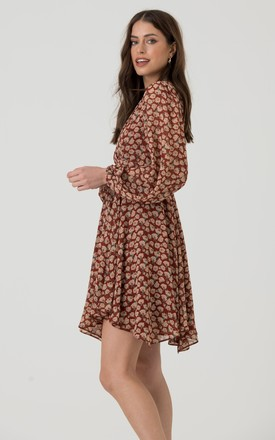 Long Sleeve Wrap Dress in Red Nude Floral Print by LIENA