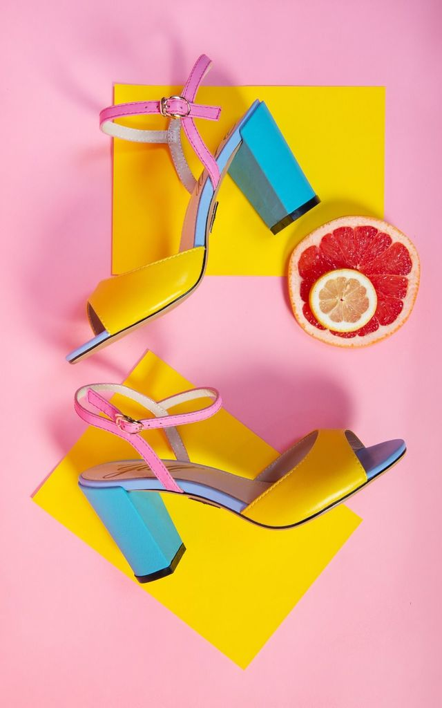 Leather Sandals with Block Heel in Yellow, Pink & Blue by Yull Shoes