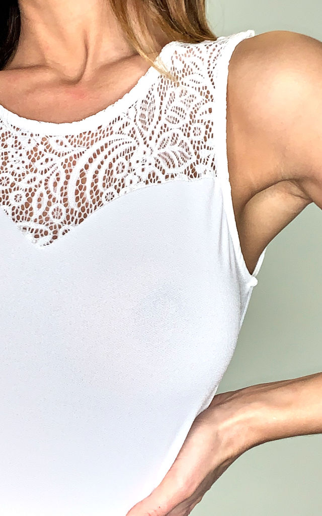 Sleeveless Bodysuit with lace detail in white by VM