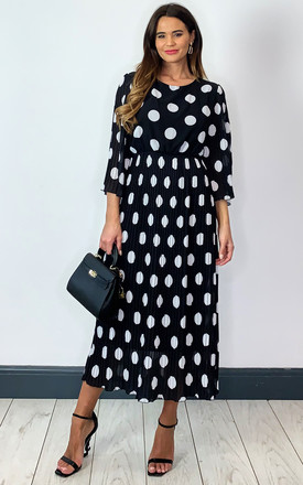 Pleated Midi Dress In Black And White Polka Dot by Bella and Blue Product photo