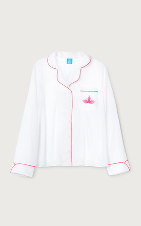 Sen Pyjama Shirt in White & Pink by Sheepers