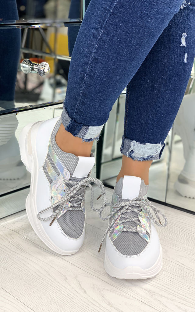 Kailey Sock Chunky Trainers In Grey by Larena Fashion