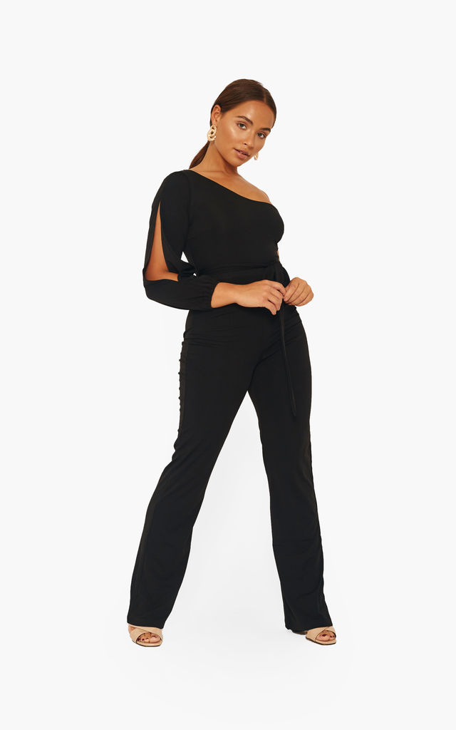 Split Sleeve Jumpsuit black with tie waist by The Label Clothing