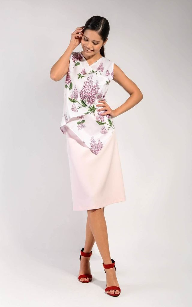 Trapezoidal Midi Skirt in Pink by Bergamo