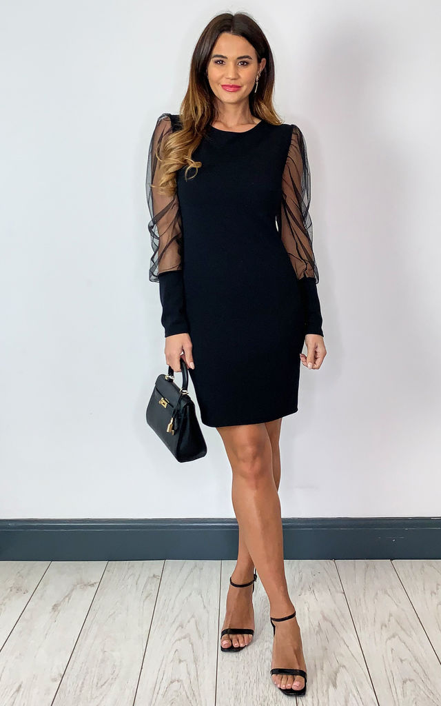 Long sleeve fitted dress with sheer sleeves in black by Off The Railz