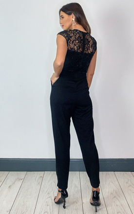 Sequin Lace Jumpsuit in Black by Lady Flare