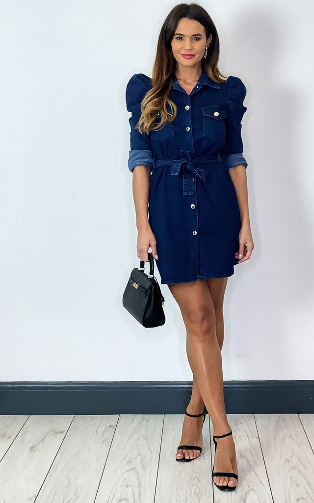 Blue denim dress with puff sleeves by Off The Railz