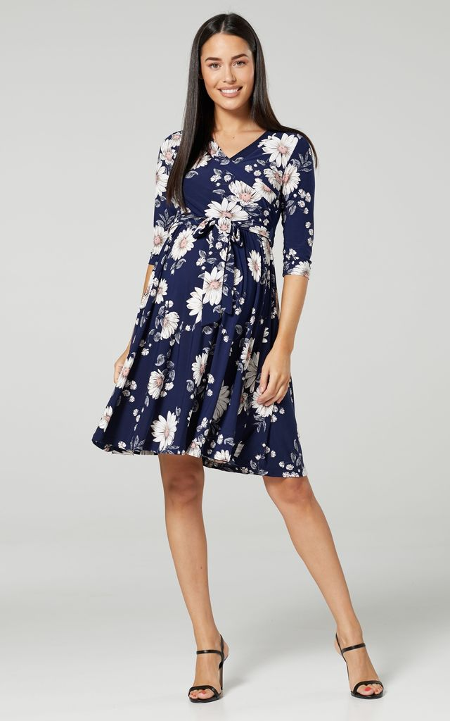 Maternity & Nursing Jersey Dress in Navy Floral Print 609 by Chelsea Clark