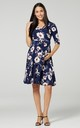 Maternity & Nursing Slinky Jersey Dress in Navy Floral Print 609 by Chelsea Clark