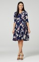 Nursing & Maternity Jersey Dress in Navy Floral Print 609 by Chelsea Clark
