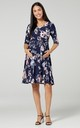 Nursing & Maternity Slinky Jersey Dress in Navy Floral Print by Chelsea Clark