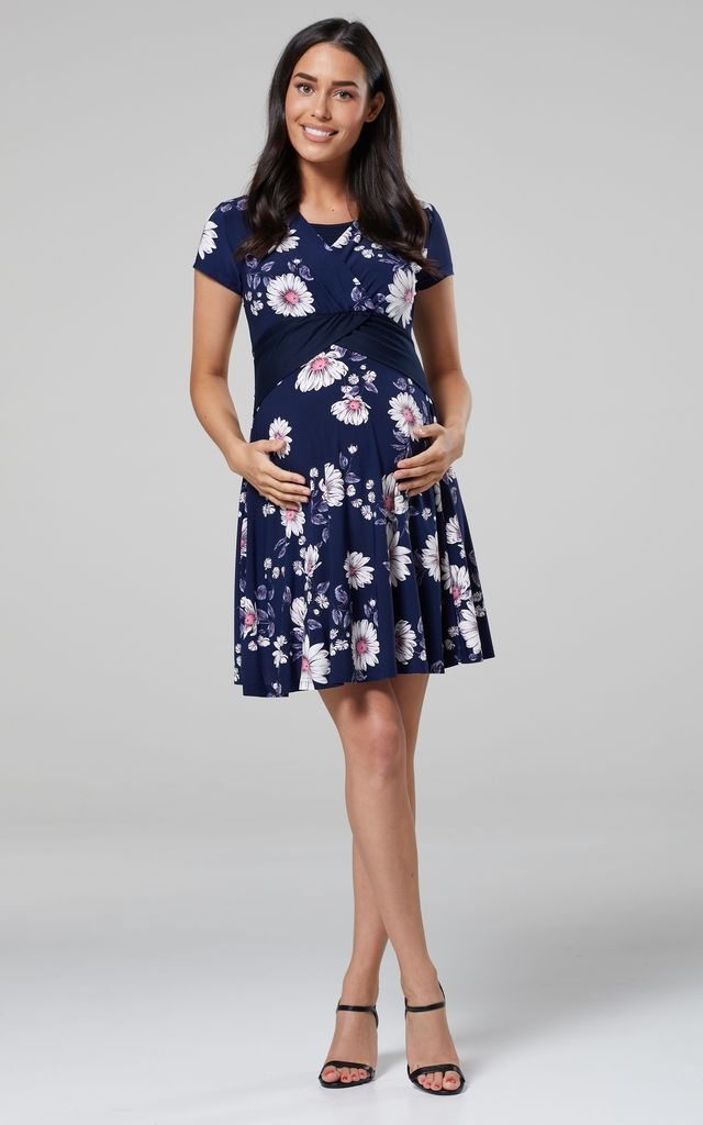 Nursing & Maternity Mini Jersey Dress in Navy Floral Print by Chelsea Clark