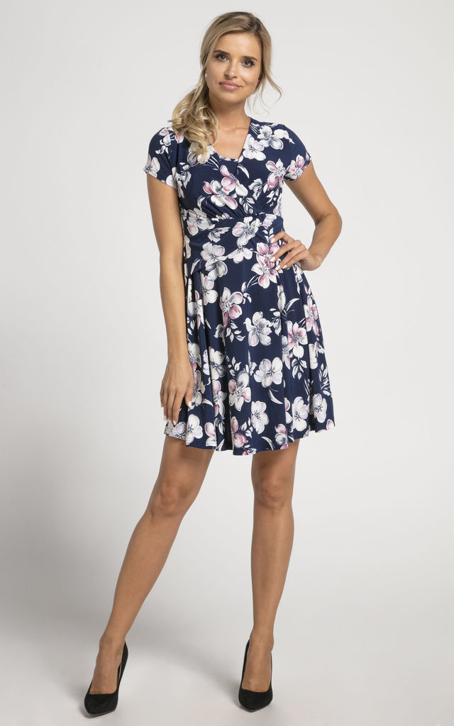 Maternity & Nursing Mini Dress in Navy Floral Print by Chelsea Clark