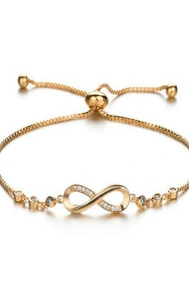 Gold Plated Adjustable Infinity Bracelet with Cubic Zirconias by GIGILAND