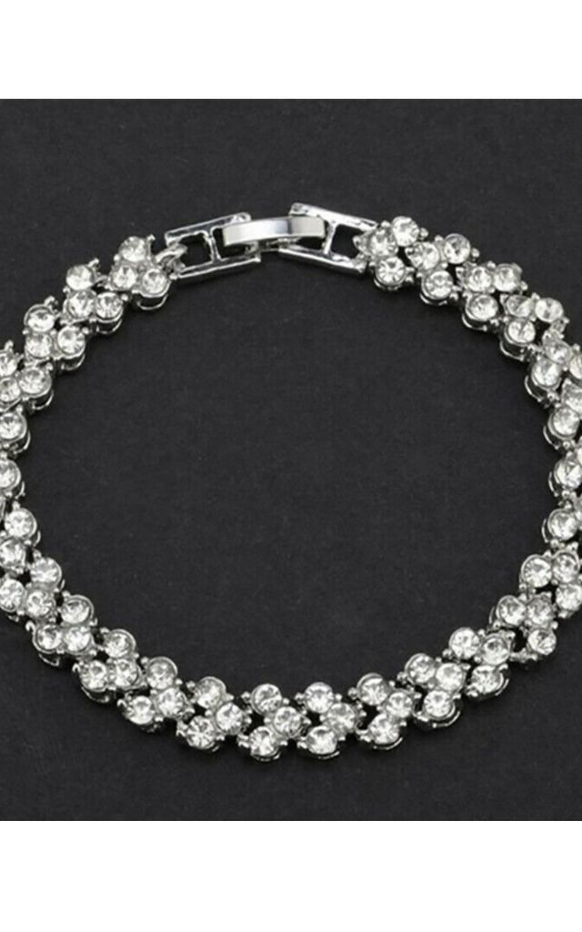 Clover Silver Plated Tennis Bracelet with Rhinestone Diamantes by GIGILAND