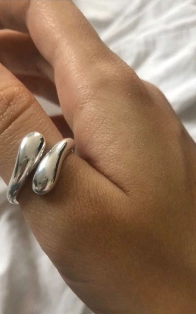925 Silver plated adjustable Tear Drop ring by GIGILAND