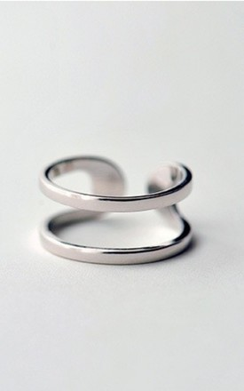 925 Silver plated adjustable Double band ring by GIGILAND