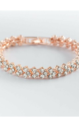 Clover Rose Gold Plated Tennis Bracelet with Rhinestone Diamantes by GIGILAND