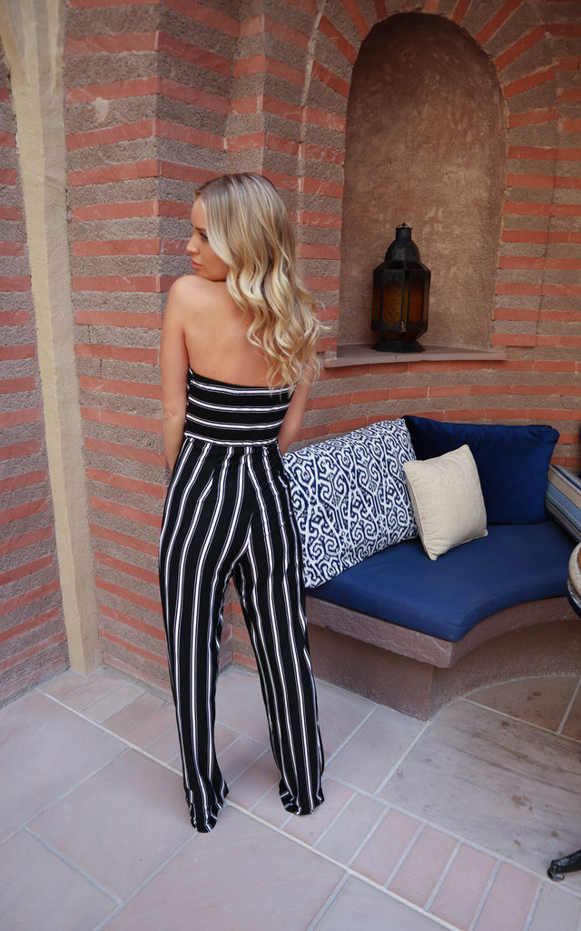 Stripe Knot Jumpsuit In Black by J.M.TAIT