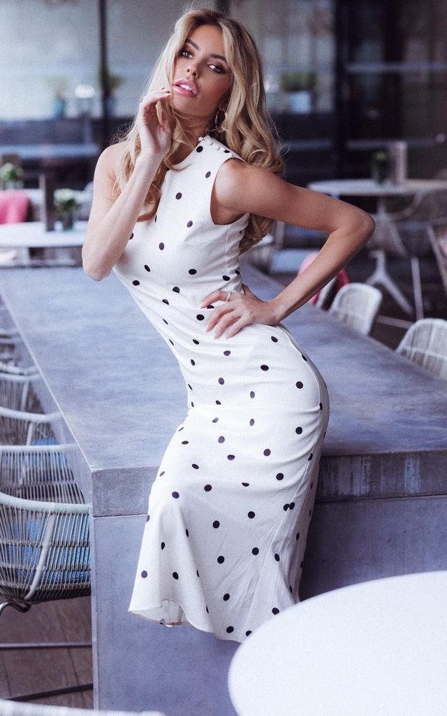 Polka Dot Dreams Midi Dress in Cream & Black by Anne Louise Boutique