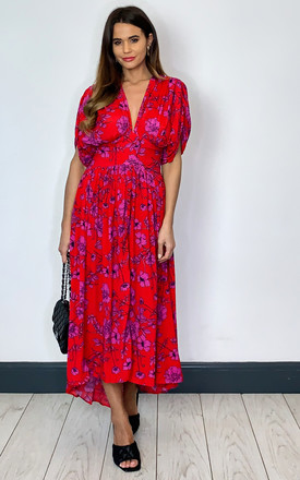 Antibes Deep V Neck Midi Dress In Red Floral by Band Of Gypsies Product photo