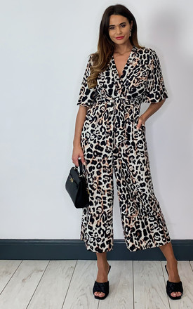 Exclusive Kimono Knot Top Culotte Jumpsuit In Leopard by Bella and Blue Product photo