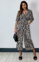 Exclusive Kimono Knot Top Culotte Jumpsuit In Leopard by Bella and Blue
