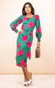 Sabina Midi Dress in Pink on Green Tulip by Dancing Leopard