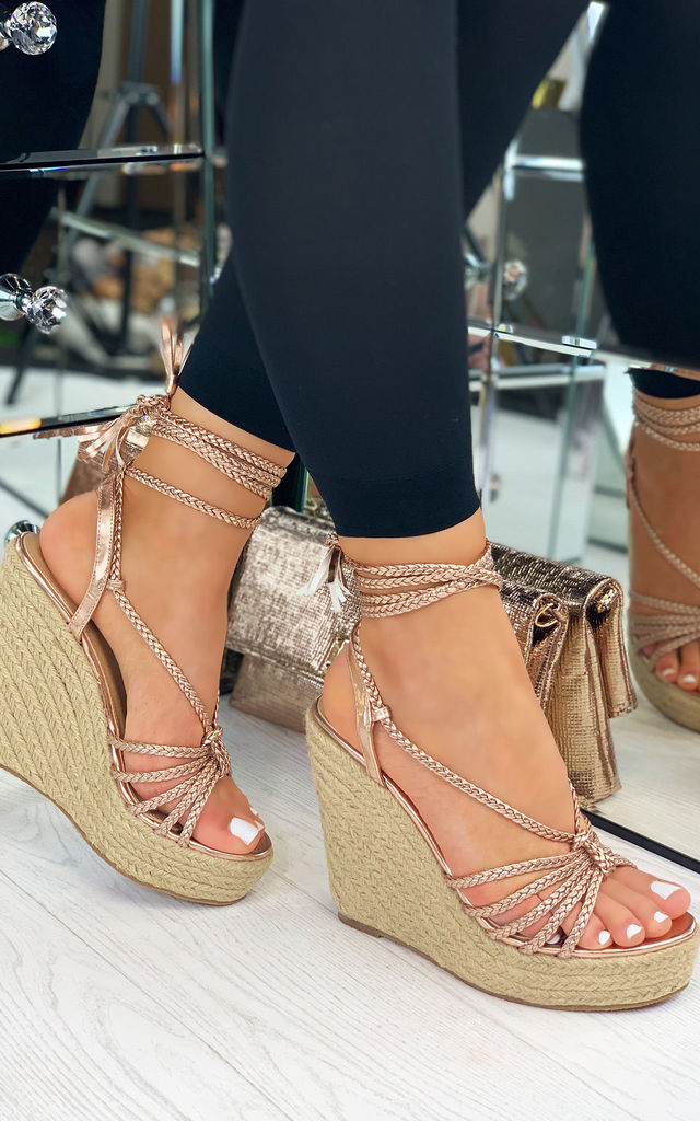 Riley Espadrille Tie Up Wedge Sandals In Rose Gold by Larena Fashion