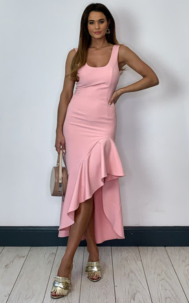 Esther Midi Dress With Frill Hem In Pink by Bardot Product photo