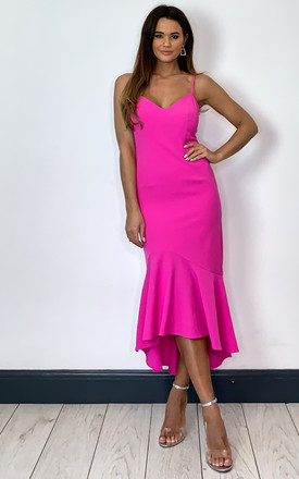 Lisandra Midi Dress With Flounce Hem In Fuschia by Bardot Product photo