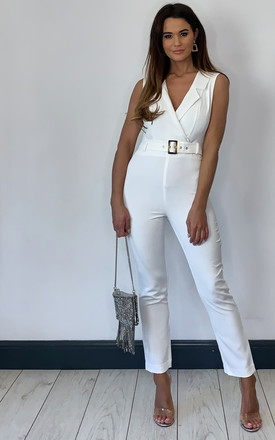 Zalia Blazer Style Jumpsuit In White by Bardot Product photo