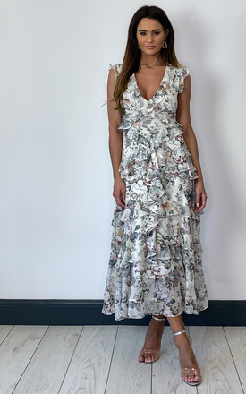 Nelly Frill Midi Dress In White Floral by Bardot Product photo