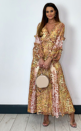 Maxi Dress With Long Sleeves In Mixed Floral / Leopard Print by Bardot Product photo