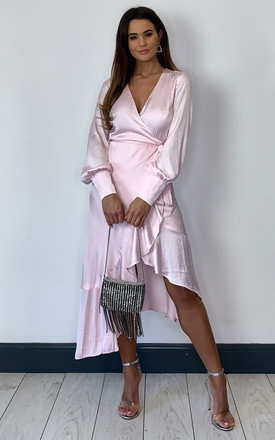 Sofie Satin Midi Wrap Dress In Light Pink by Bardot Product photo