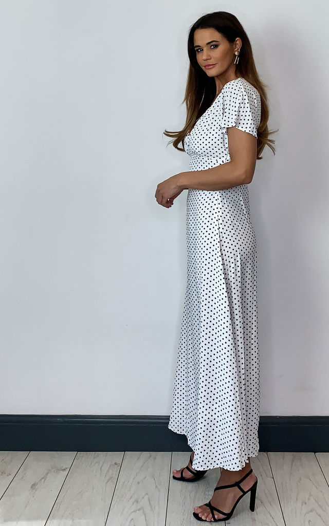 Maxi Dress with short flutter sleeve in White Polka Dot by Brave Soul London