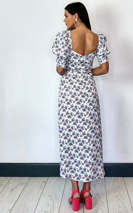 TAGGART MIDI DRESS WITH SHORT PUFF SLEEVE IN WHITE FLORAL by For Love And Lemons