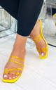 Alaina Yellow Strappy Slip On Sandals with Clear Block Heel by Larena Fashion