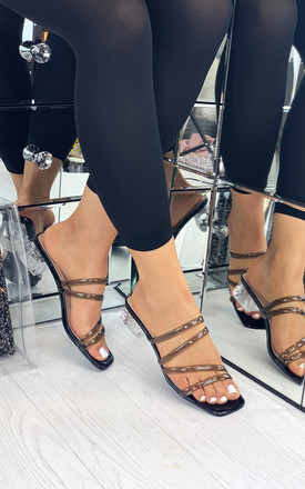 Alaina Black Strappy Slip On Sandals with Clear Block Heel by Larena Fashion
